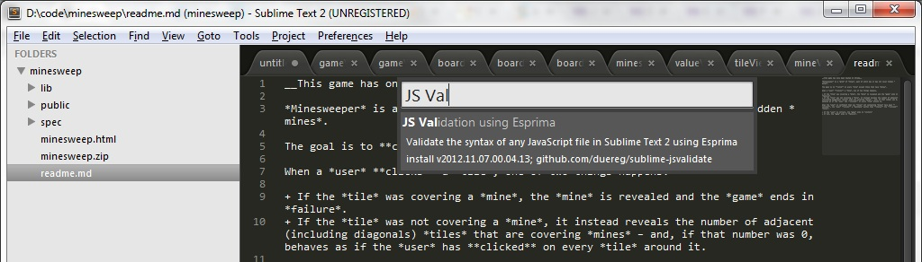 Sublime Text - Esprima Plugin Screenshot